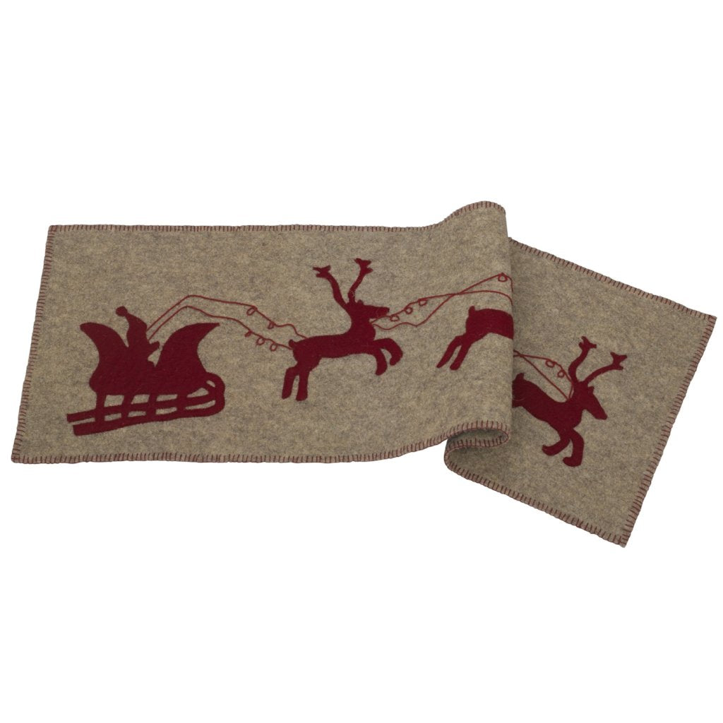 Handmade Gray Hand Felted Wool Christmas Table Runner - Reindeer and Sleigh - 16