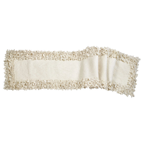 Hand Felted Wool Floral Border Table Runner in Cream, 16x90
