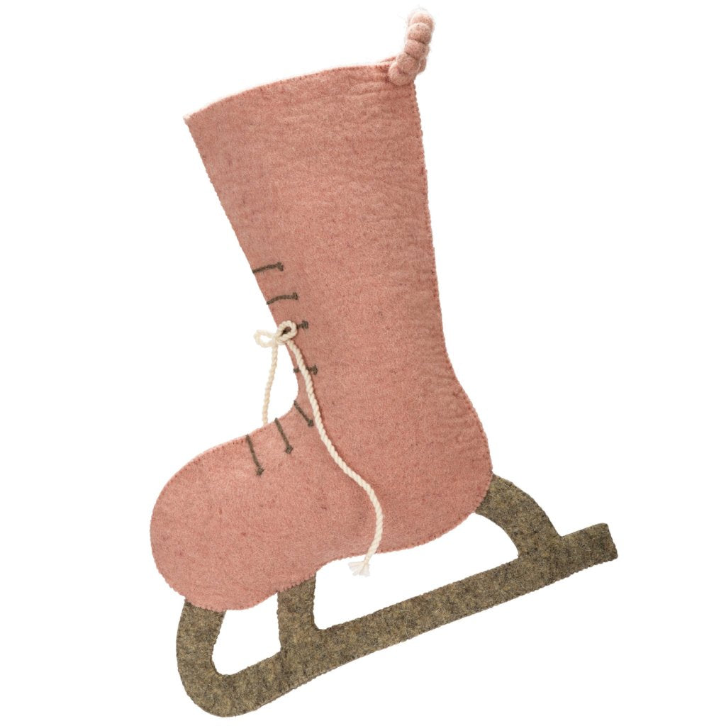 Hand Felted Wool Christmas Stocking - Pink Skate - Arcadia Home