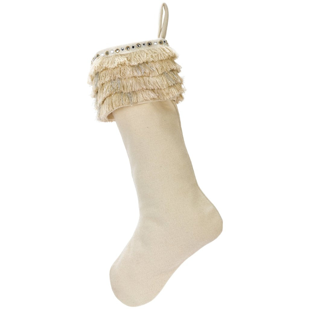 Handmade Wool Christmas Stocking - Fringe on Cream
