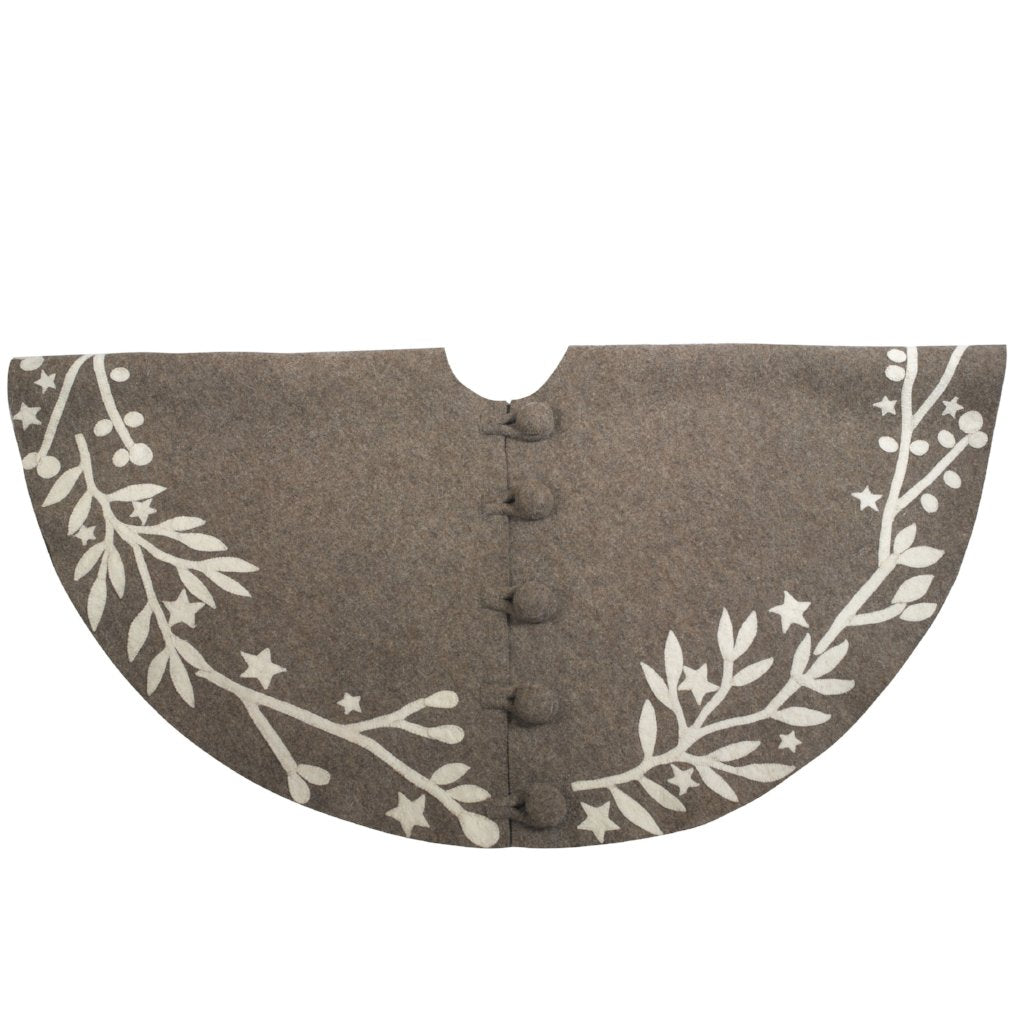 Handmade Christmas Tree Skirt in Felt - Branches and Stars on Gray - 60