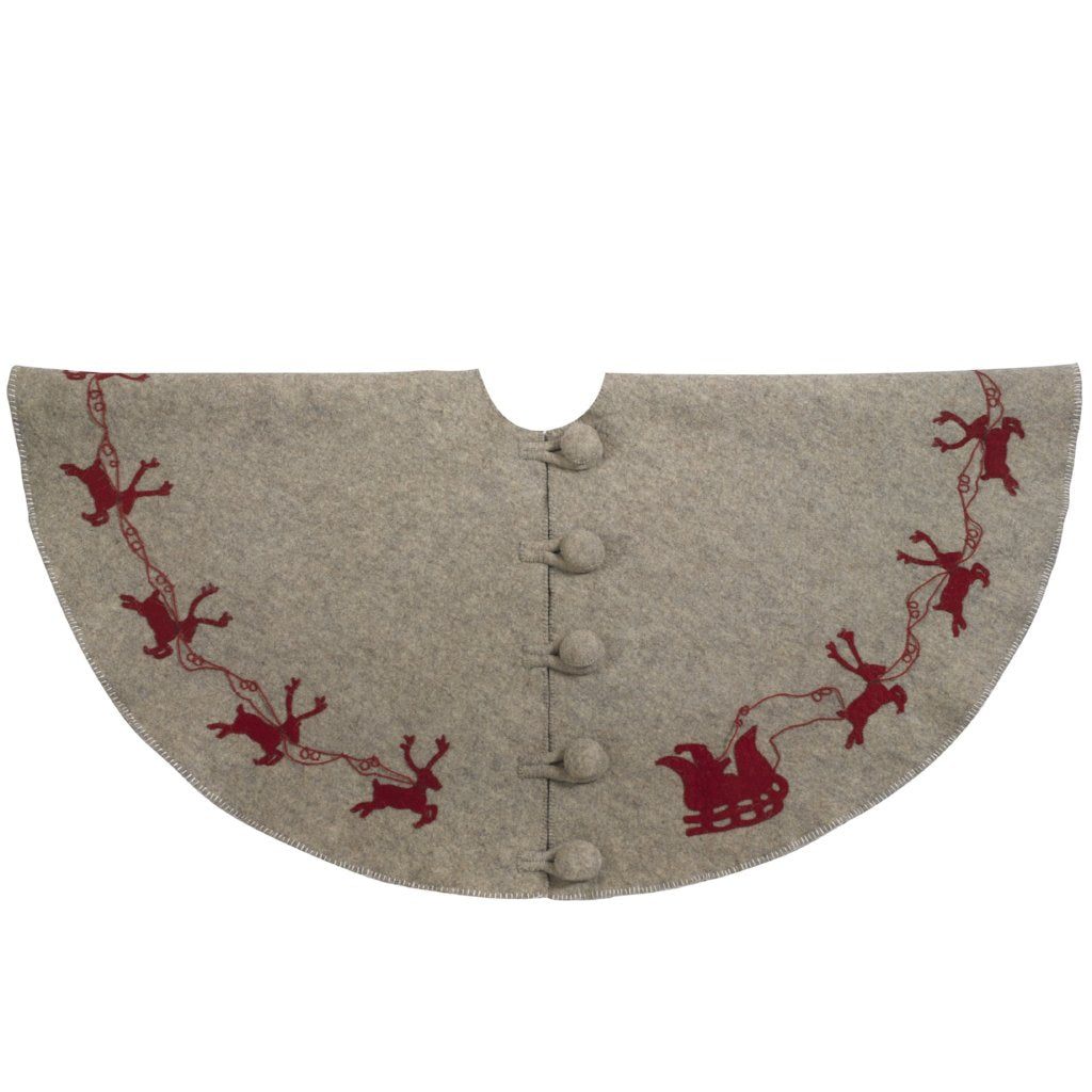 Handmade Christmas Tree Skirt in Felt - Red Reindeer on Gray - 60