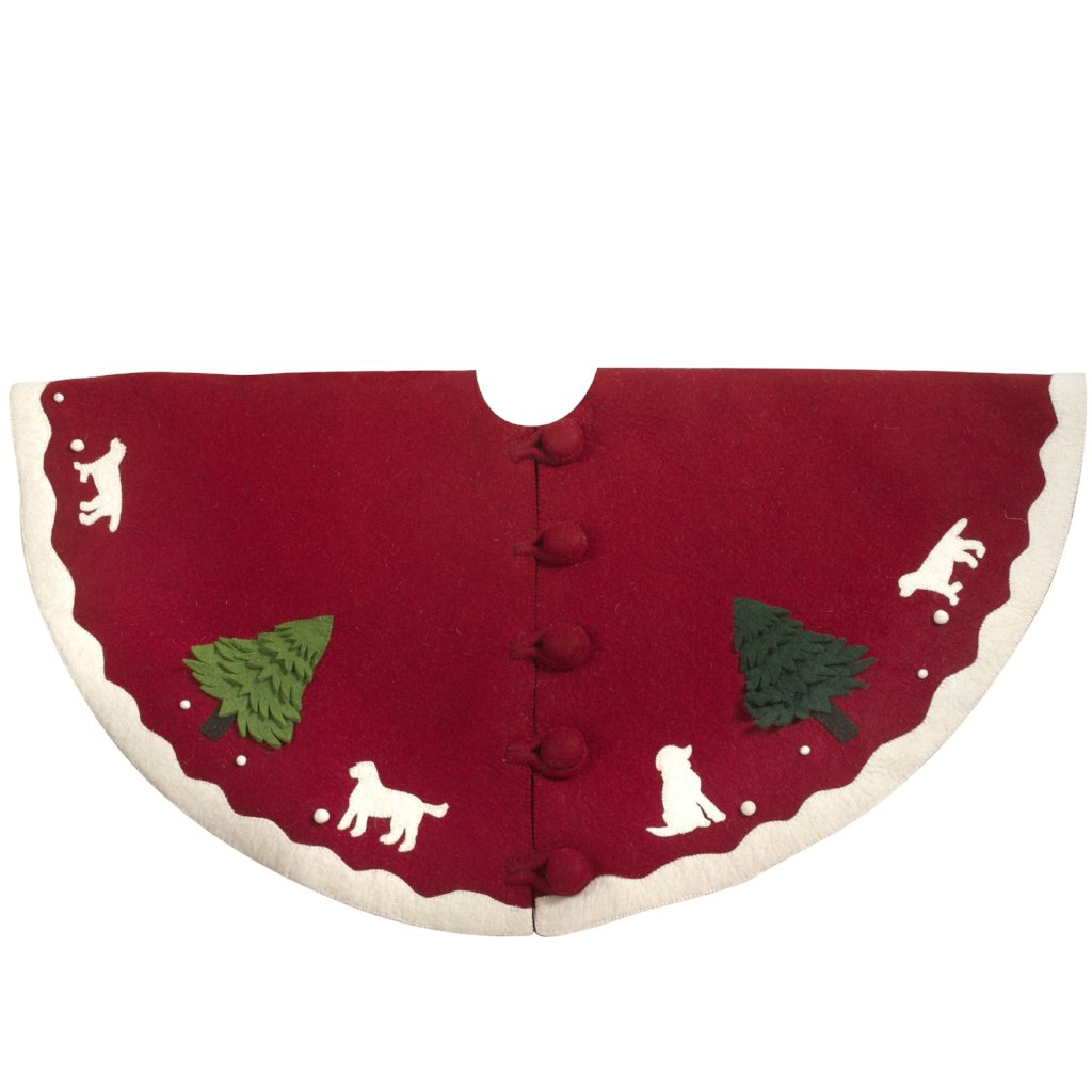 Handmade Christmas Tree Skirt in Hand Felted Wool - Dogs with Trees on Red- 60