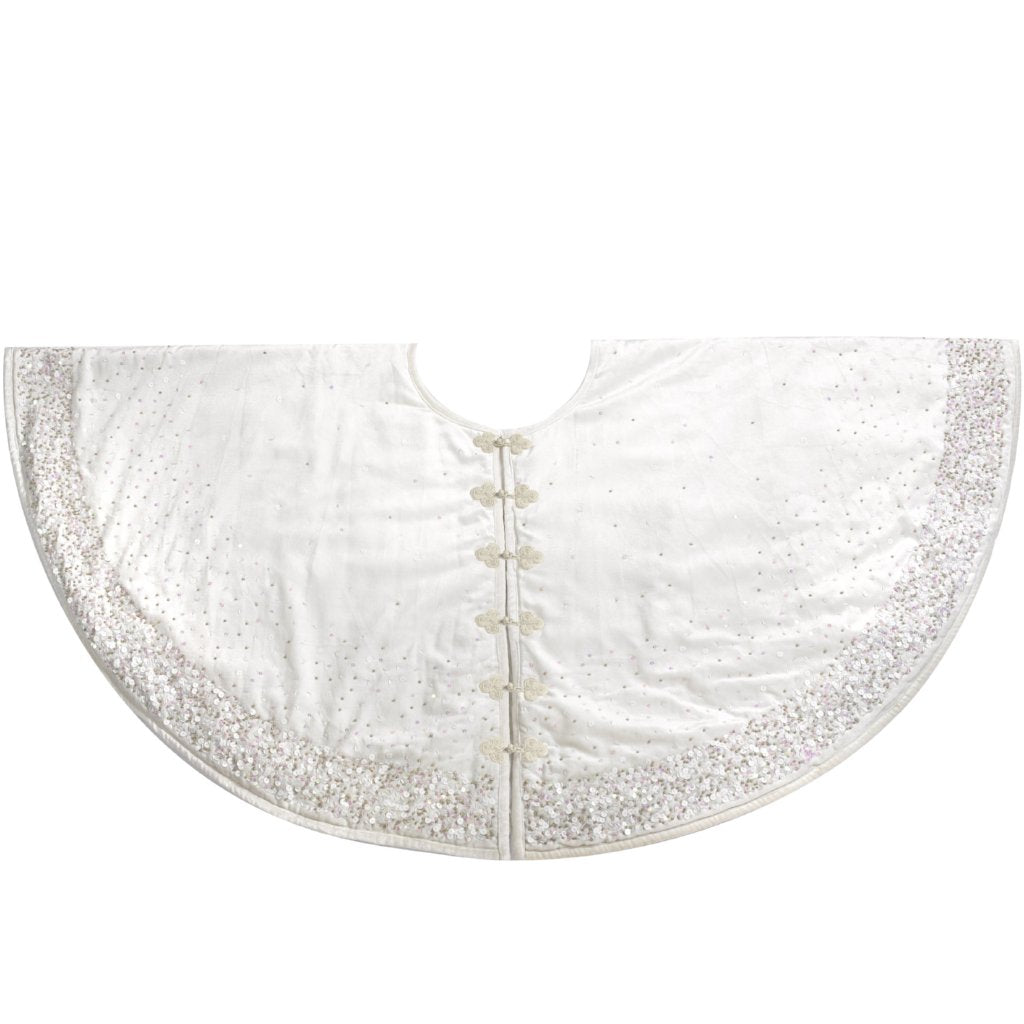Handmade Christmas Tree Skirt in Velvet-White with Sequins - 72