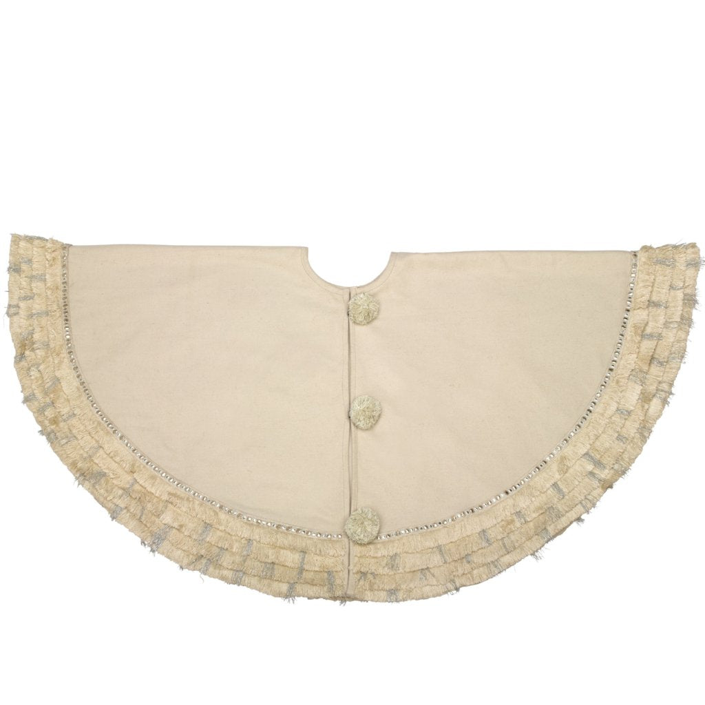 Handmade Christmas Tree Skirt in Recycled Wool - Cream with Fringe Border - 60