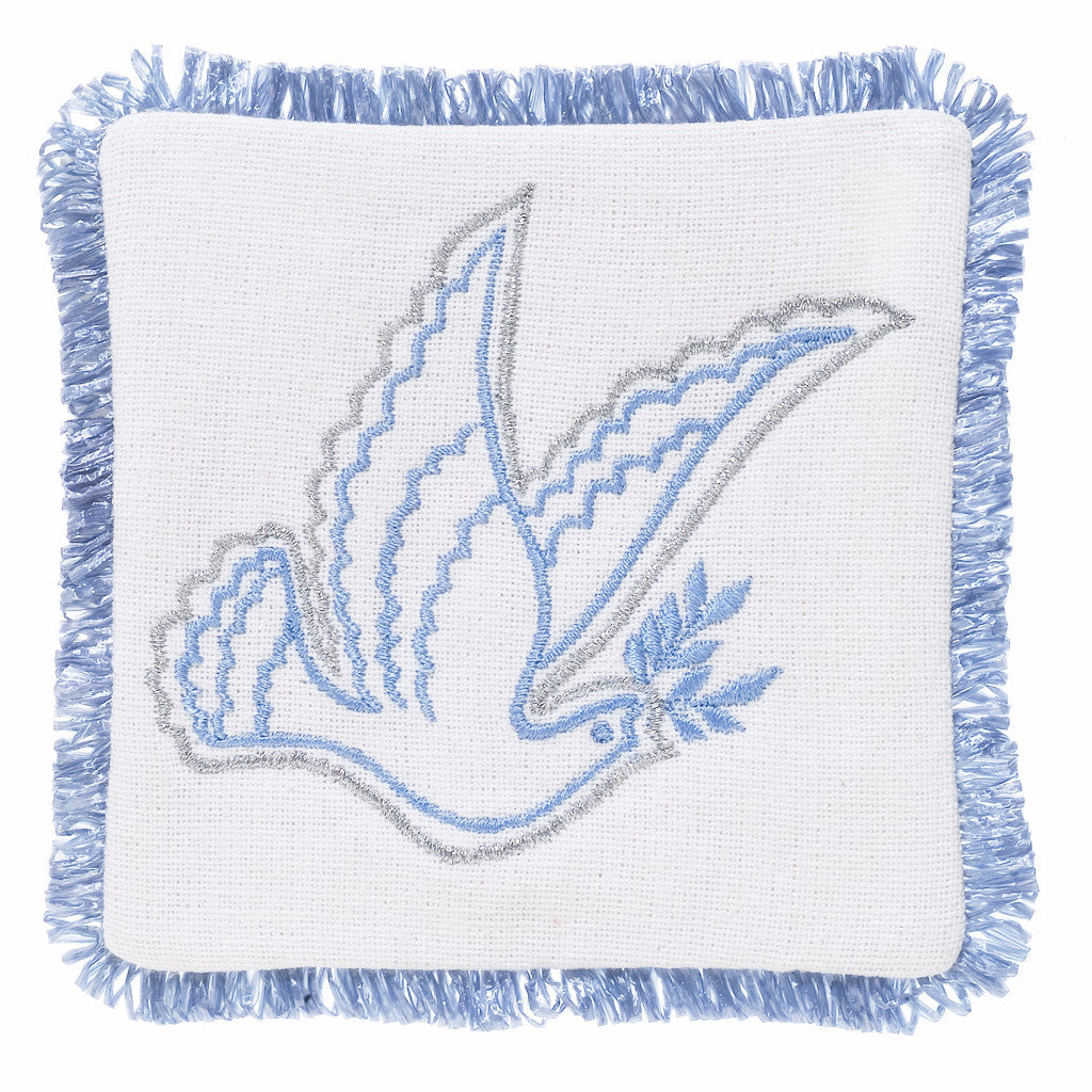Hand Embroidered Dove Coaster - Set of 4 - Arcadia Home