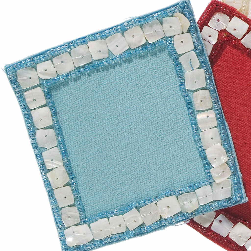 Mother of Pearl Coasters in Turquoise - Set of Four - Arcadia Home