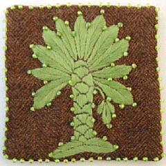 Hand Embroidered Palm Tree Coaster - Set of 4 - Arcadia Home