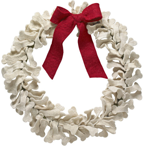 Handmade Hand Felted Wool Wreath - Dog Bones with Red Bow - 14