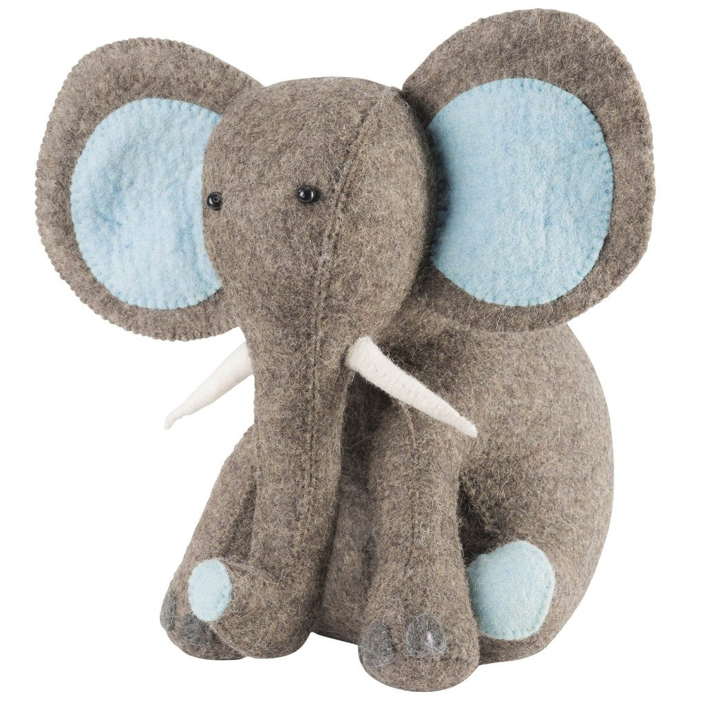 Blue Elephant Door Stop in Hand Felted Wool - Arcadia Home