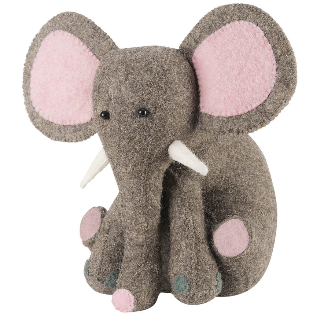 Pink Elephant Door Stop in Hand Felted Wool - Arcadia Home