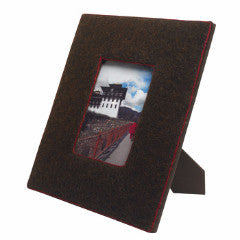 Felt Covered Frame in Chocolate with Red Stitching
