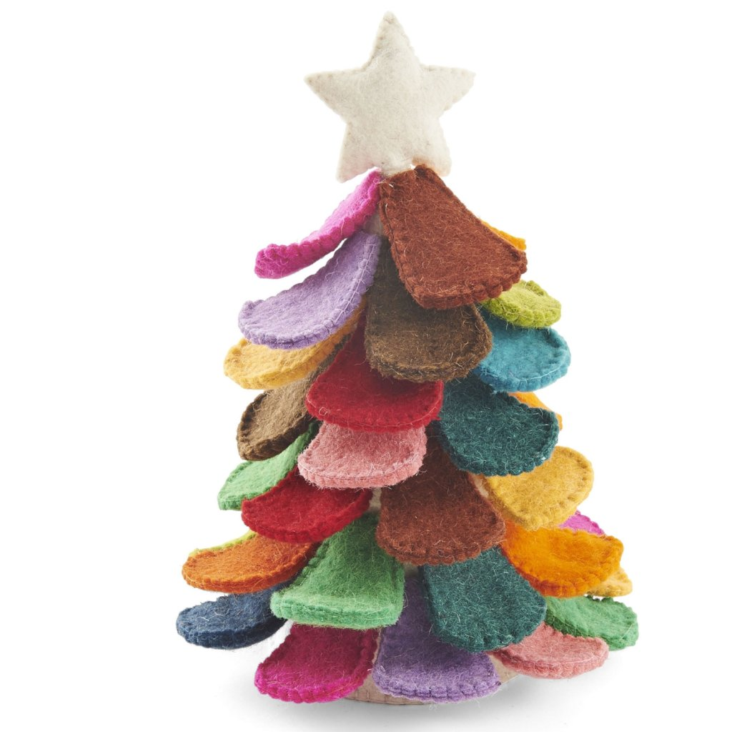 Handmade Multicolor Tabletop Christmas Tree in Hand Felted Wool