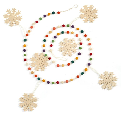 Hand Felted Wool Christmas Garland - Multicolor Dots with White Snowflakes - 6'