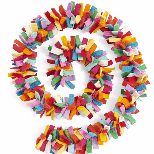 Multicolor Confetti Garland in Hand Felted Wool - Arcadia Home