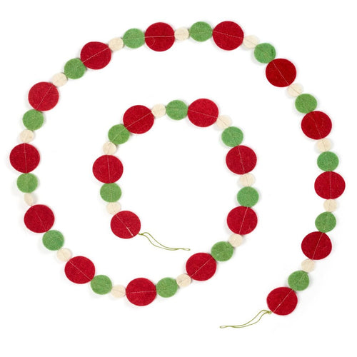 Hand Felted Wool Christmas Garland - Red, Green, and Cream Multisize Dots - 6' - Arcadia Home