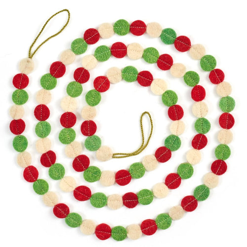 Hand Felted Wool Christmas Garland - Red, Green, and Cream Dots - 6'