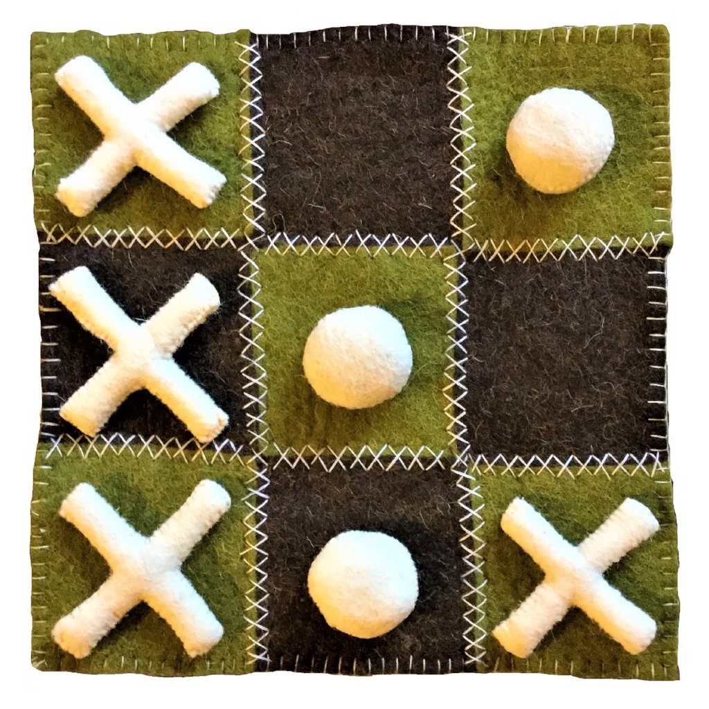 Handmade Hand Felted Wool Tic Tac Toe Game Set - Green and Brown