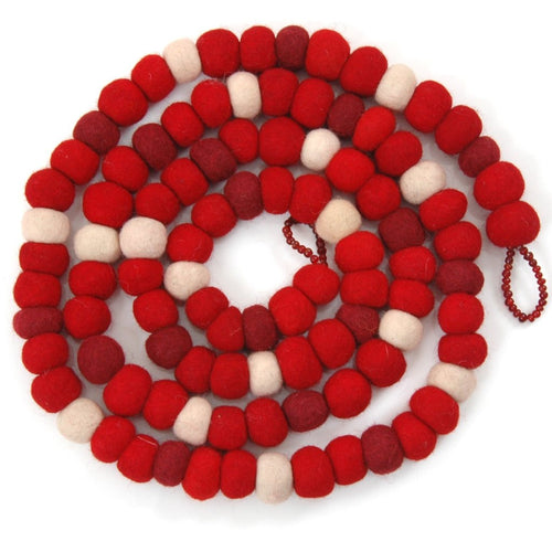 Hand Felted Wool Christmas Garland - Red, Maroon, and Cream Balls - 6'