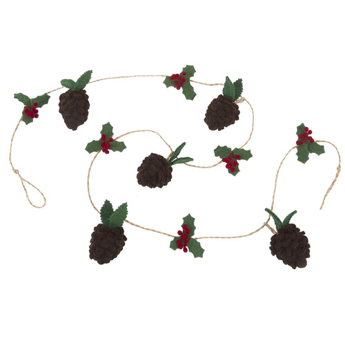 Handmade Christmas Garland - Pinecones and Holly Berries in Felt and Jute - 6'
