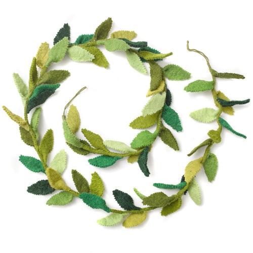 Hand Felted Wool Garland - Green Leaves - 6'