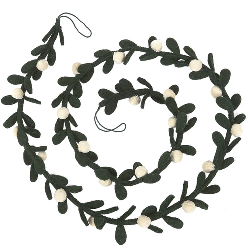 Handmade Christmas Garland - Cream Velvet Balls and Felt Mistletoe - 6'