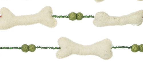 Felt Dog Bone Christmas Garland with Green Felted Balls