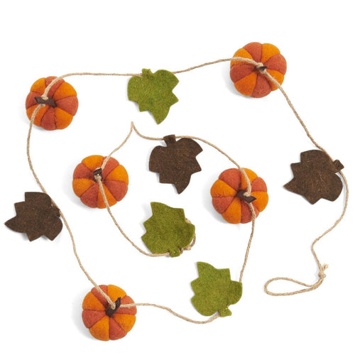 Pumpkin Vine Halloween Garland in Hand Felted Wool - 7'