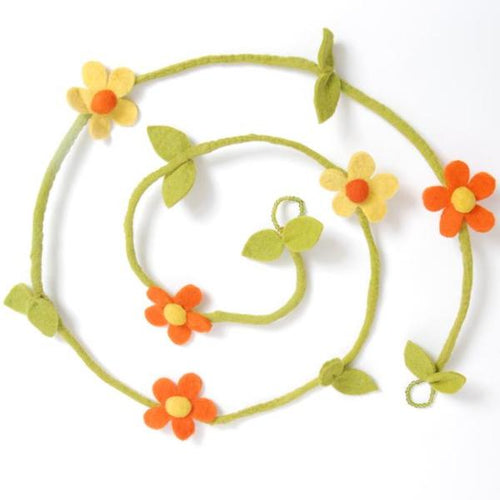 Hand Felted Wool Garland - Yellow and Orange Flowers - 6' - Arcadia Home