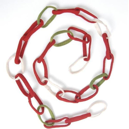 Arcadia Home Hand Felted Wool Christmas Garland - Loop Chain in Red and Green - 6'