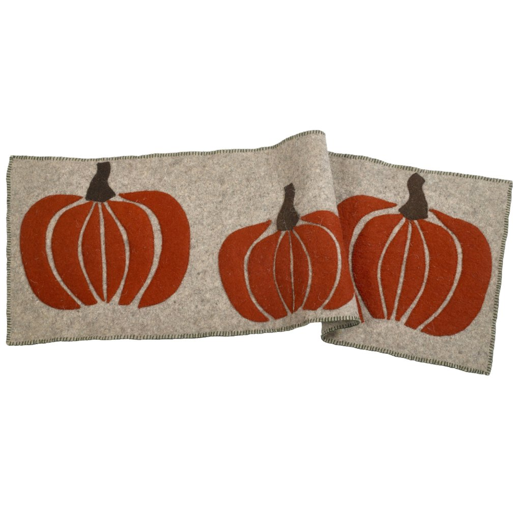 Hand Felted Wool Pumpkin Table Runner - 16x44