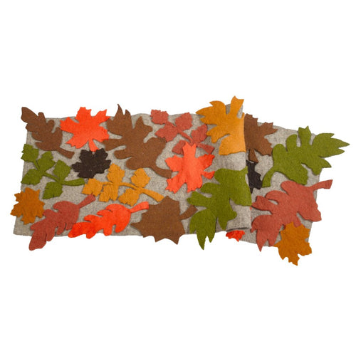 Hand Felted Wool Harvest Leaves Table Runner - 18x120