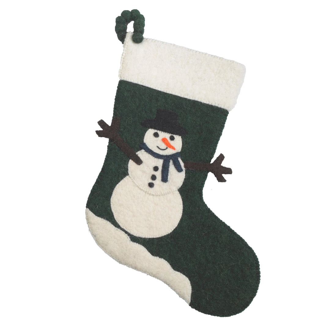Hand Felted Wool Christmas Stocking - Traditional Snowman on Green - Arcadia Home