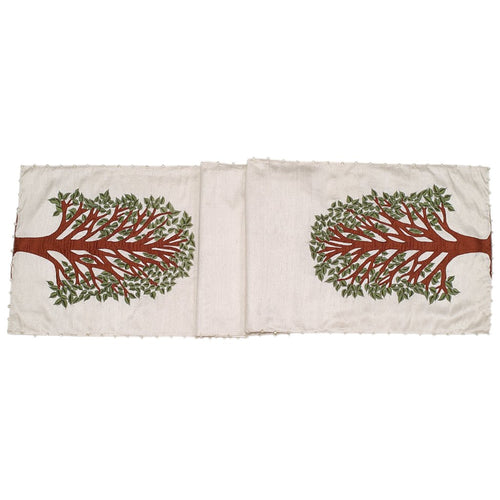 Ivory Silk Table Runner with Tree of Life Embroidery and Hand Beading - 18x72