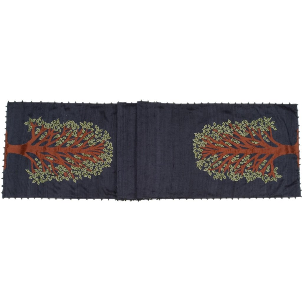 Navy Silk Table Runner with Tree of Life Embroidery and Hand Beading - 18x72