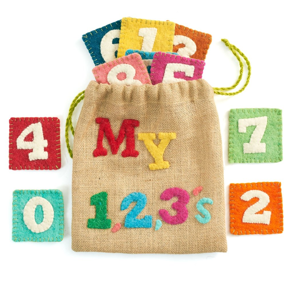 Handmade Children's 123s Number Game Set in Jute and Felt
