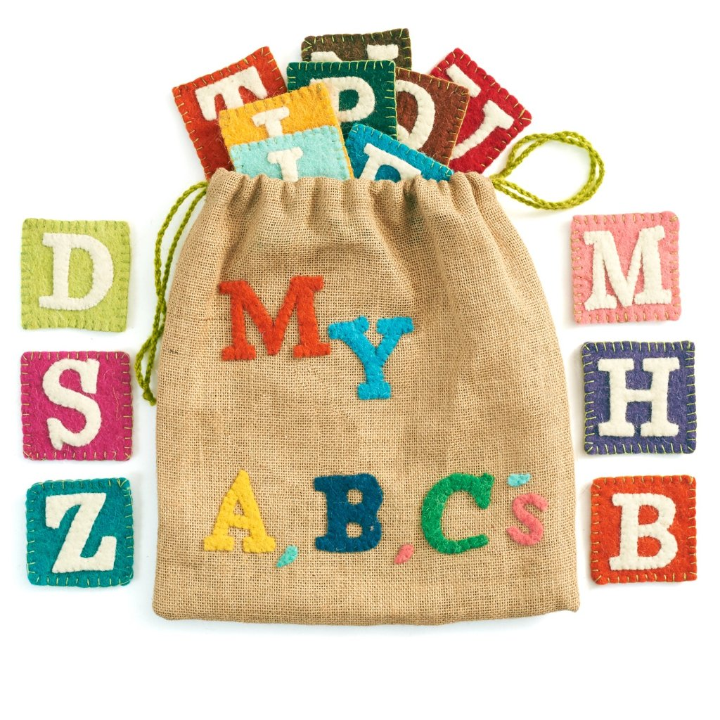 Handmade Children's ABCs Alphabet Game Set in Jute and Felt - Arcadia Home