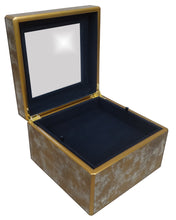 Handmade Reverse Painted Mirror Square Box in Antique Gold and Silver - Large