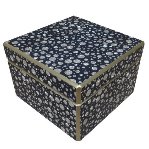 Handmade Reverse Painted Mirror Square Box in Silver Dots on Blue - Medium - Arcadia Home