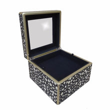Reverse Painted Mirror Box - Medium - in Blue with Silver Dots - Arcadia Home