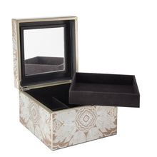 Handmade Reverse Painted Mirror Square Box in Beige - Medium