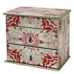 Handmade Reverse Painted Mirror Jewelry Box in Tomato Red - Arcadia Home