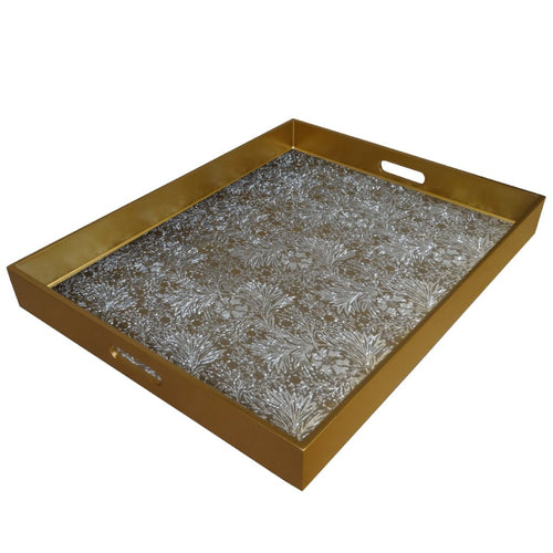 Handmade Reverse Painted Mirror Tray with Handles in Floral Gold and Silver - Extra Large - Arcadia Home