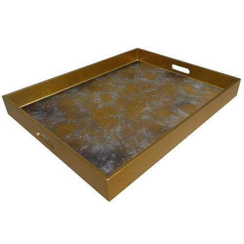 Handmade Reverse Painted Mirror Tray with Handles in Antique Gold and Silver - Extra Large - Arcadia Home
