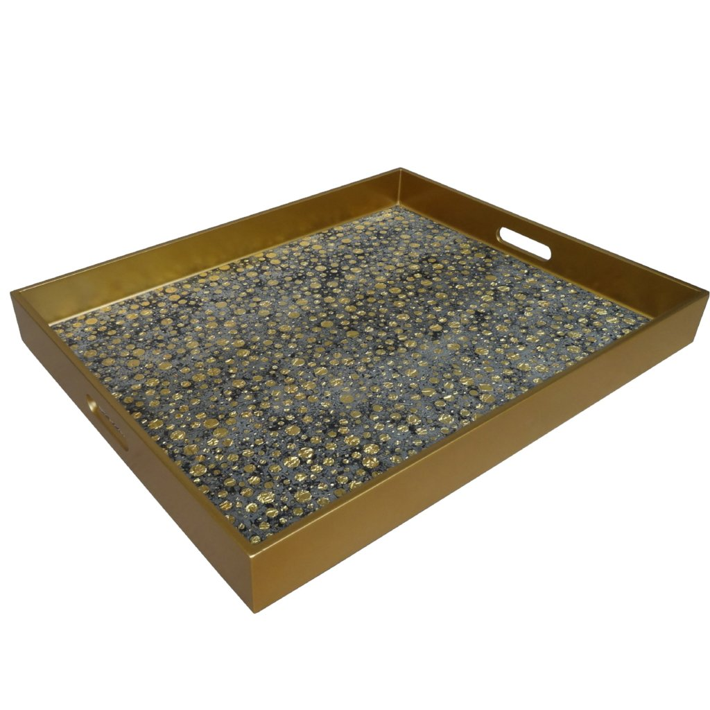 Handmade Reverse Painted Mirror Tray with Handles in Gold Dots - Extra Large - Arcadia Home