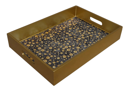 Reverse Painted Mirror Tray in Gold Foil Dots