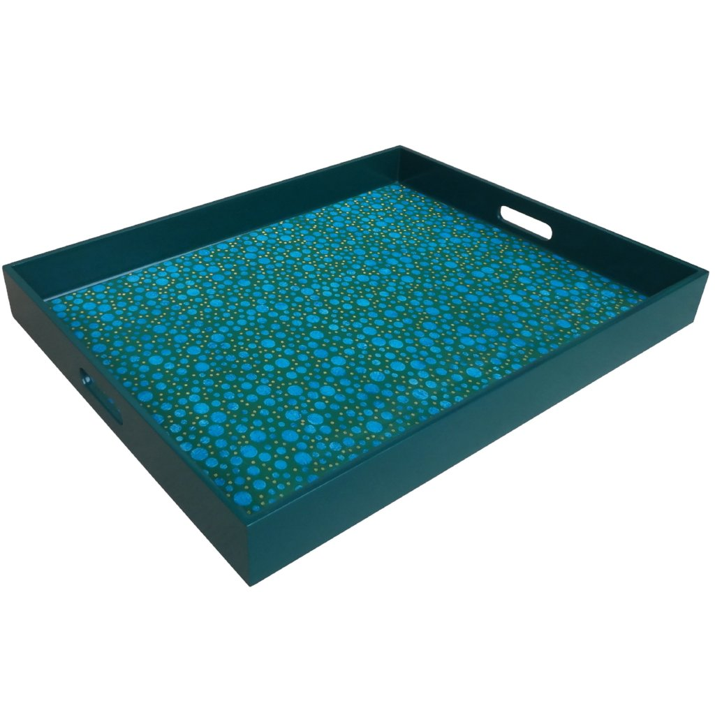 Handmade Reverse Painted Mirror Tray with Handles in Blue Bubbles - Extra Large - Arcadia Home