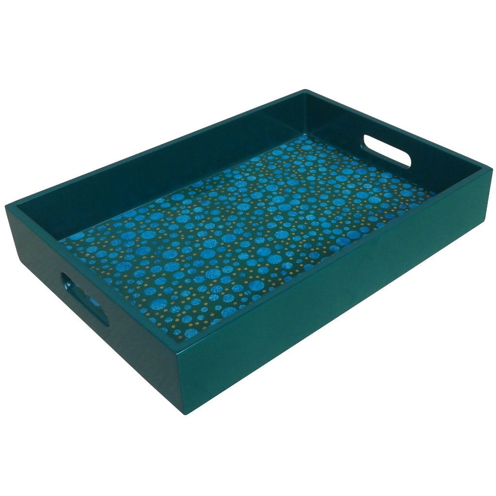 Handmade Reverse Painted Mirror Tray with Handles in Blue and Green Dots - Medium - Arcadia Home