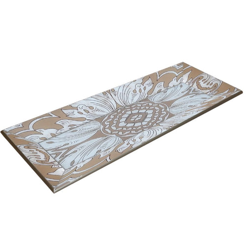 Handmade Reverse Painted Mirror Tray with Beveled Edge in Beige and Silver - Small - Arcadia Home