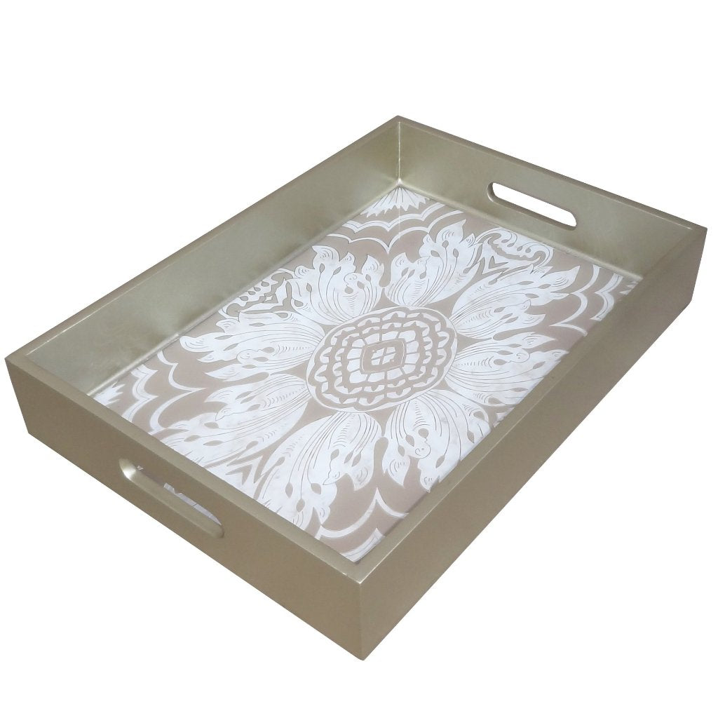 Handmade Reverse Painted Mirror Tray with Handles in Beige and Silver - Medium - Arcadia Home